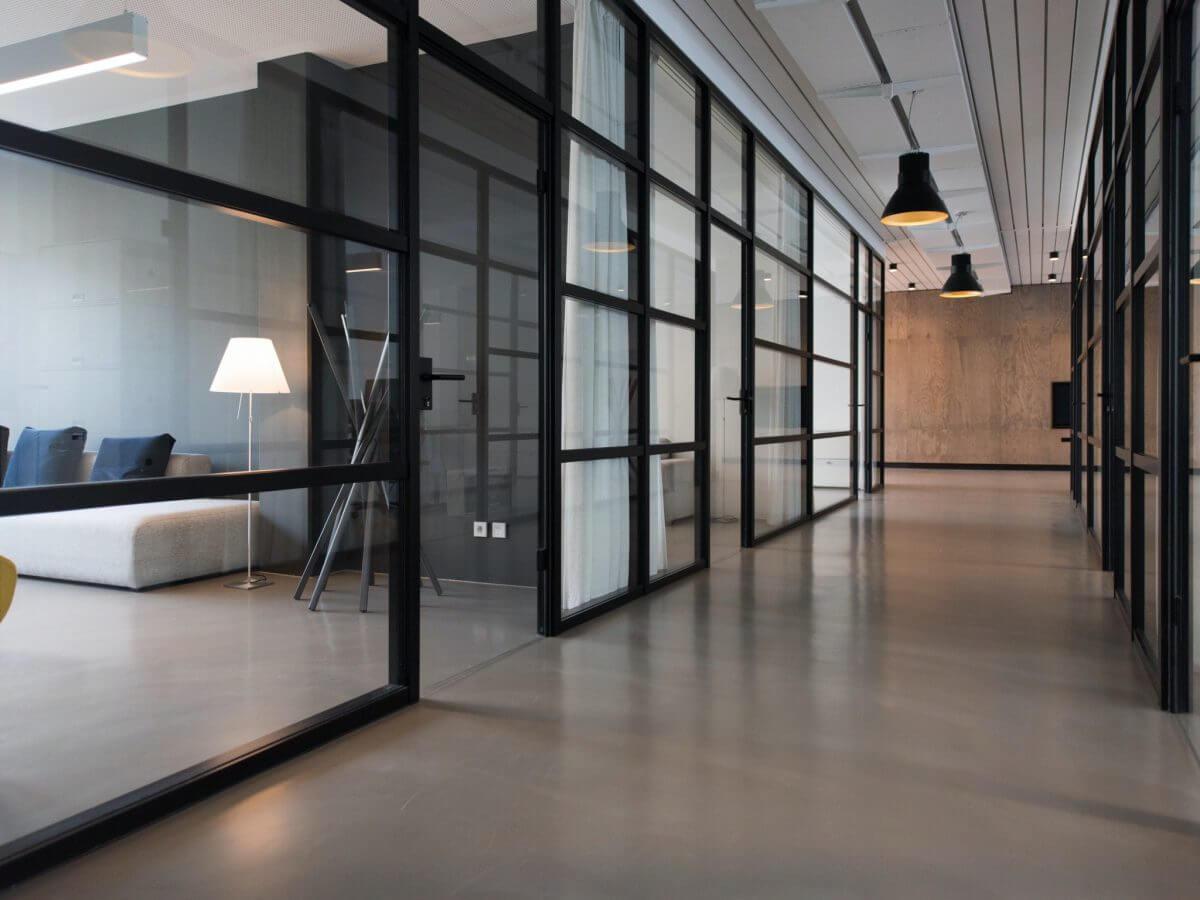 Minimal contemporary office corridor