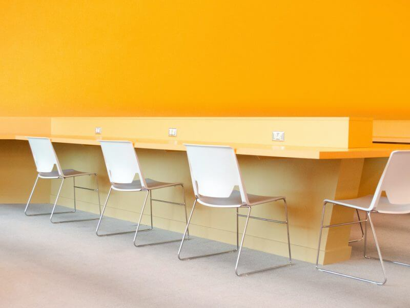 Brightly coloured contemporary office